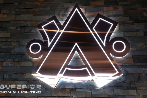 Aztec Contractors - Front / Reverse lit sign. Brushed bronze finish.