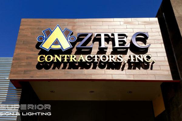 Aztec Contractors - Front / Reverse lit channel letters.