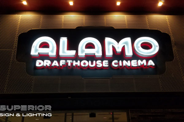 Alamo Drafthouse Cinema - Open face neon channel letters and halo lit.