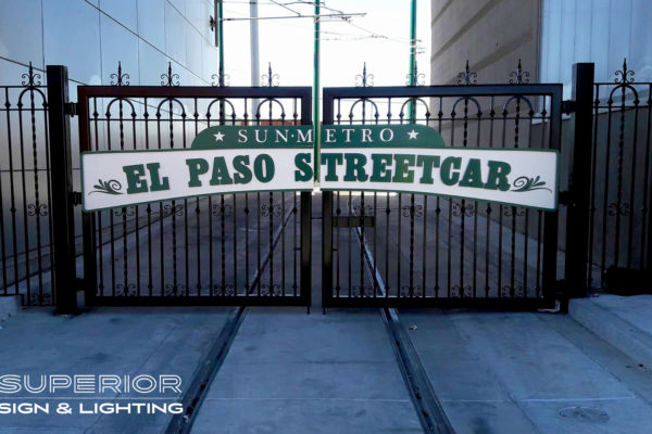 El Paso Streetcar - Non illuminated flat cut out letters on panel.