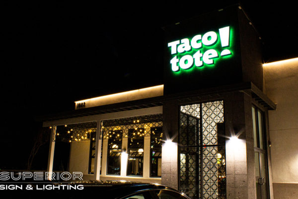 Taco Tote Outlets - Front Reverse lit channel letters