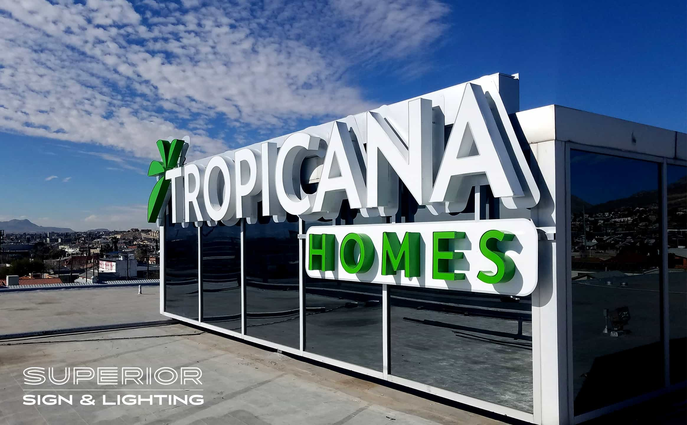 Tropicana Homes - Front / Reverse lit channel letters business sign