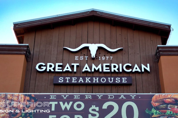 Great American Steakhouse - Front lit channel letters