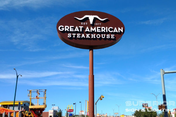 Great American Steakhouse - Pole sign with front lit channel letters