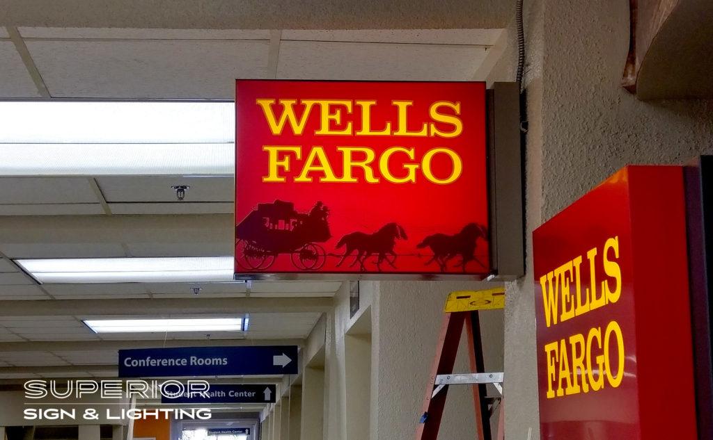 Wells Fargo Flag Sign - Front lit cabinet