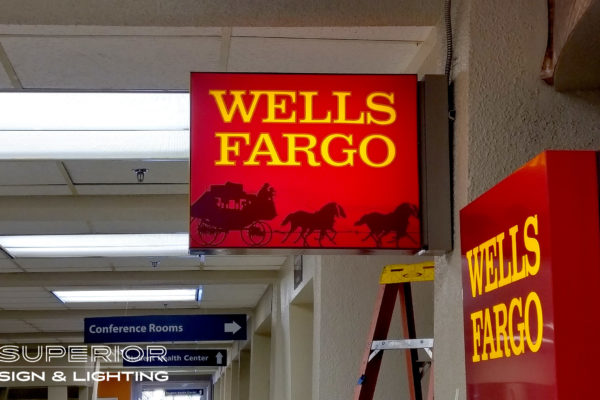 Wells Fargo Flag Sign - Front lit cabinet