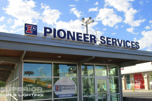 Pioneer services front lit canopy sign - Channel letters