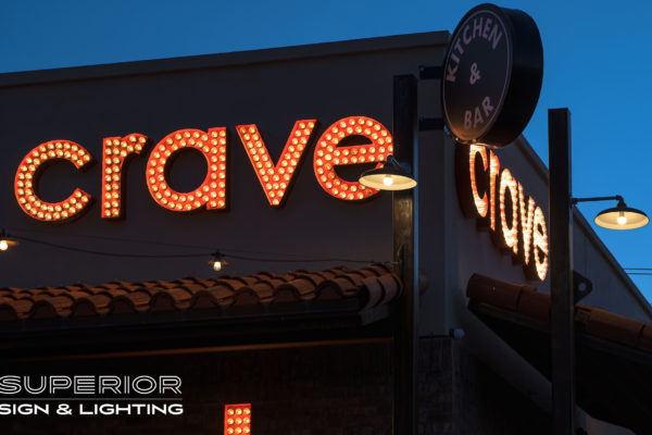 Crave - Open face channels with light bulbs